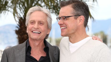 Michael Douglas and Matt Damon in Cannes