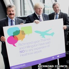 (L-r) Hillingdon Council Leader Cllr Ray Puddifoot, Boris Johnson and Leade of Richmond Council, Cllr Lord True