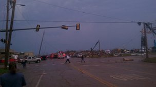 Destruction on a main road in Moore, Oklahoma