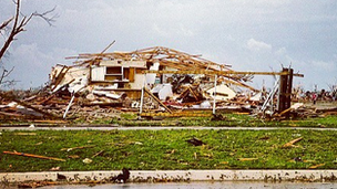 House barely standing in Moore, Oklahoma