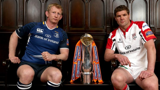 Leinster captain Leo Cullen with Ulster skipper Johann Muller and the Pro12 trophy