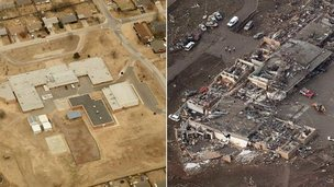 Before and after image of Plaza Towers Elementary School, Oklahoma