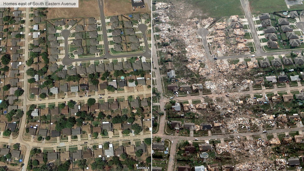 Oklahoma tornado: Before and after images - BBC News