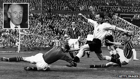 Manchester City's Bert Trautmann dives at the feet of Birmingham's Murphy during the 1956 FA Cup Final. It was while making this save that he broke his neck and, inset, Trautmann in 2008
