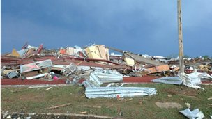 Tornado damage at a bowling alley in Moore, Oklahoma