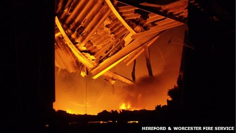 Inside the recycling centre during the fire
