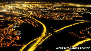 Photo of Birmingham taken from West Midlands Police helicopter