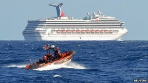 A ship had to deliver food to the Carnival Triumph after it was left stranded off the Gulf of Mexico