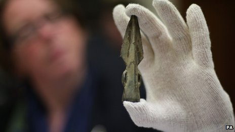 One of the items recovered included a Bronze Age spear head