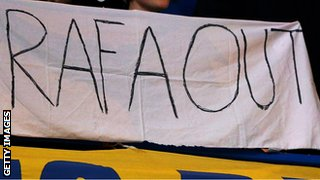 Chelsea fans display a banner protesting against interim manager Rafael Benitez
