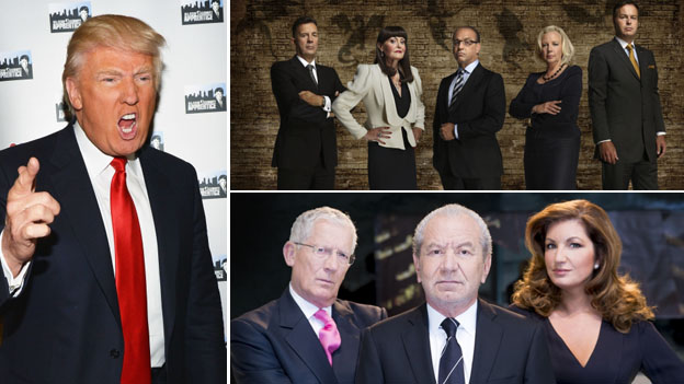 Donald Trump, left, the cast of the UK Dragons' Den, above, and UK Apprentice below