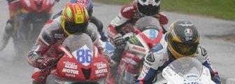 The riders get away for the opening Supersport race - but it was to last just two laps
