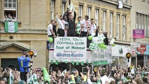 Yeovil Town football team celebrate in Yeovil town centre