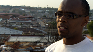 Morris Modipa on the roof of his bar in Johannesburg