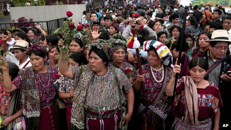 People from Guatemala's Ixil community celebrated the guilty verdict against Rios Montt on 10 May