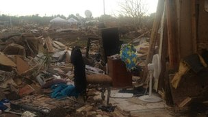 Belongings among the ruins after a tornado in Moore