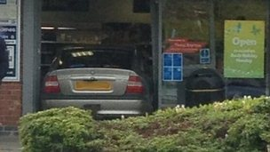 Terry Buckle's car in the Tesco Express store, Moreton Hall