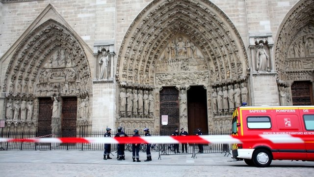 A cordon, police and an ambulance outside Notre-Dame