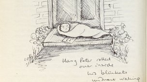 JK Rowling sketch from annotated first edition of Harry Potter and the Philosopher's Stone
