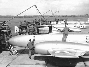 RAF Westonzoyland Meteor 7s being refuelled