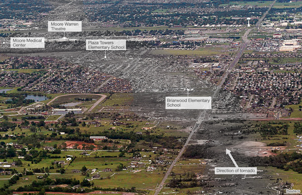 Aerial photo shows path of tornado through Moore