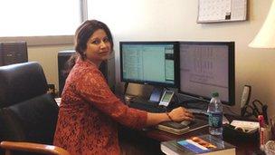 Bishaka Sen at her computer