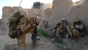 British solders during a strike in  Sangin, Afghanistan in 2007