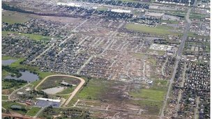 Aerial image showing tornado path