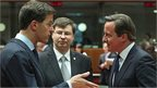 UK PM David Cameron (right) with fellow EU leaders in Brussels, 22 May 13