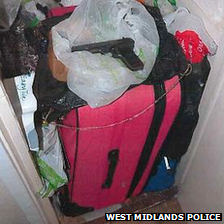 Airing cupboard where the gun was found