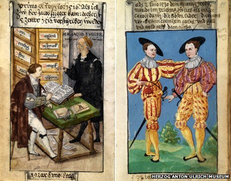 Scenes from the Schwarz Book of Clothes showing Schwarz at work as an accountant (left) and in a celebratory doublet he had made for the return of the Holy Roman Emperor Charles V to Germany