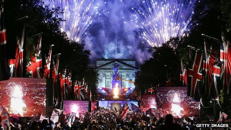 Fireworks over Buckingham Palace mark the end of the Diamond Jubilee concert on 4 June 2012