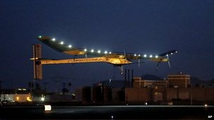Solar Impulse plane taking off from Phoenix