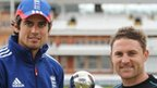 England captain Alastair Cook and New Zealand skipper Brendon McCullum with the Test series trophy