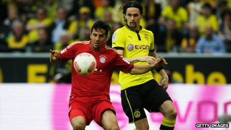 Bayern Munich v Borussia Dortmund in the Bundesliga earlier in May