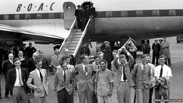 The 1953 British Mount Everest Expedition on arrival back at London Airport on 3 July 1953