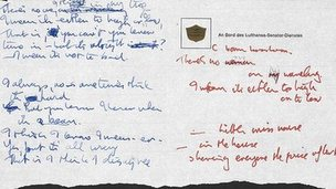 Handwritten lyrics to Strawberry Fields Forever