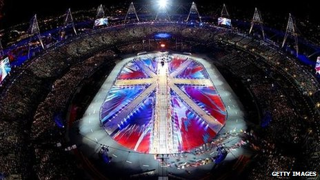 A general view of the Olympic stadium as a union flag is formed during the closing ceremony