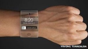 A mock-up of a rumoured Apple iWatch