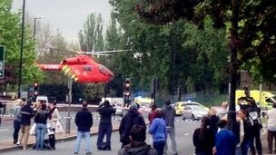 An air ambulance helicopter landing in Woolwich, south London.