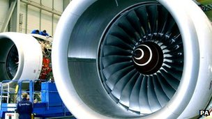 A Rolls-Royce Trent 500 engine