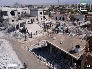 Photo purportedly showing destruction in Qusair (21 May 2013)