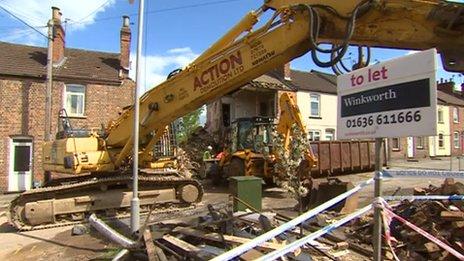Demolition workers in Wright Street, Newark