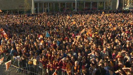 Bradford City fans at the parade