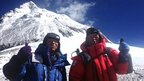 Yuichiro Miura (R) and son Gota pose at their camp at 8,000 meters on 22 May 2013