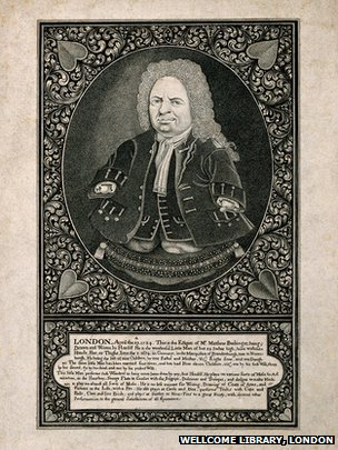 Engraving after a self portrait of Matthias Buchinger