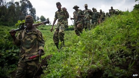 M23 rebels walking through hills in eastern Democratic Republic of Congo. File photo