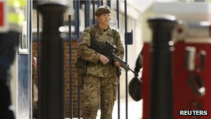 Soldier at barracks in Woolwich