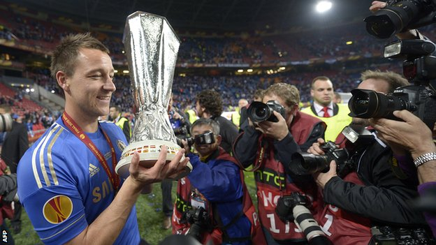 John Terry with the Europa League trophy