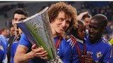 David Luiz with the Europa League trophy